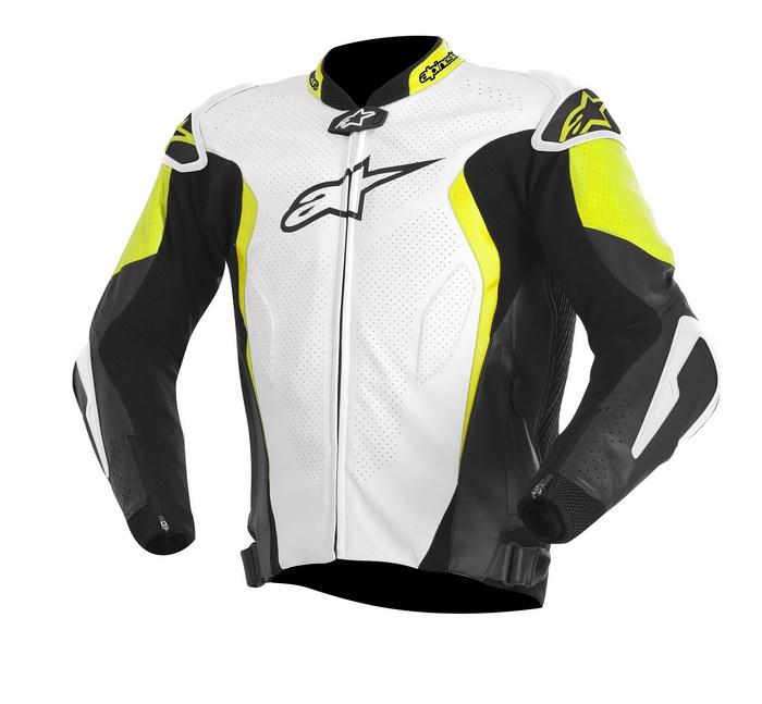 Giacca moto pelle Alpinestars GP TECH bianco nero giallo fluo
