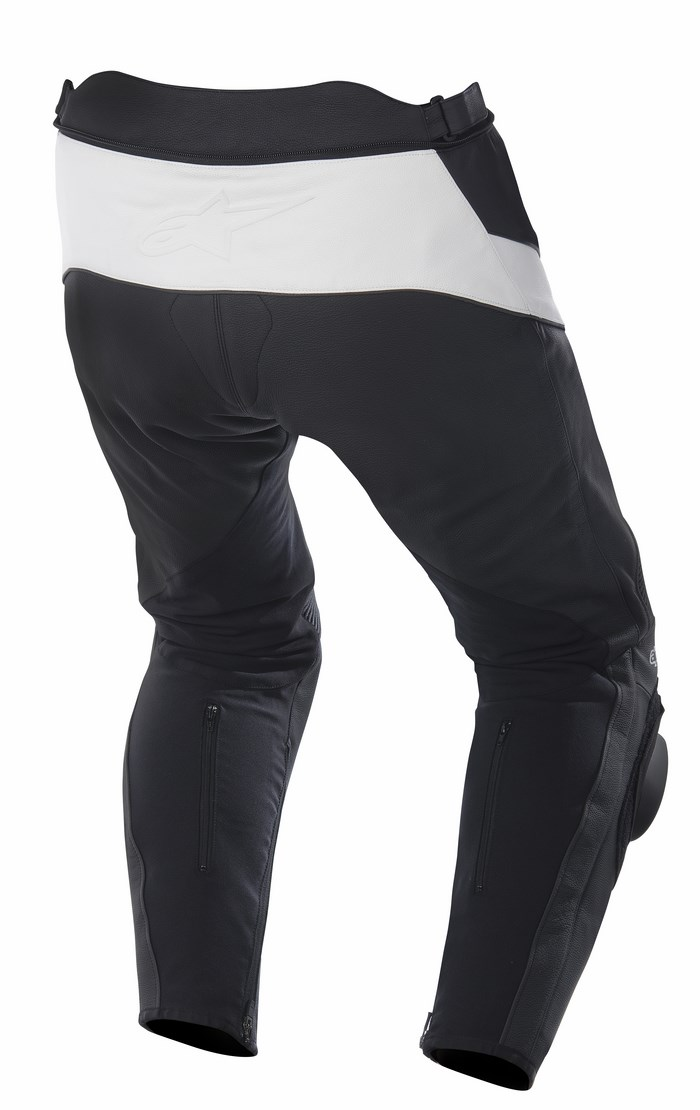 Pantaloni moto pelle Alpinestars Missile nero bianco