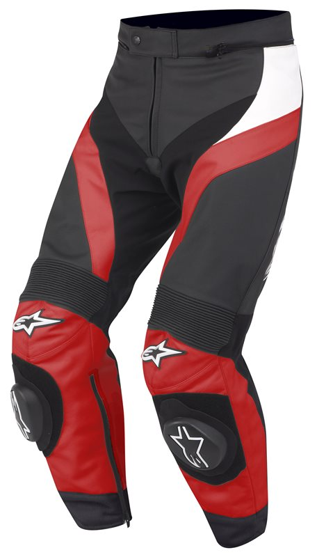 Pantaloni moto in pelle Alpinestars Gp Plus Rosso Bianco Nero