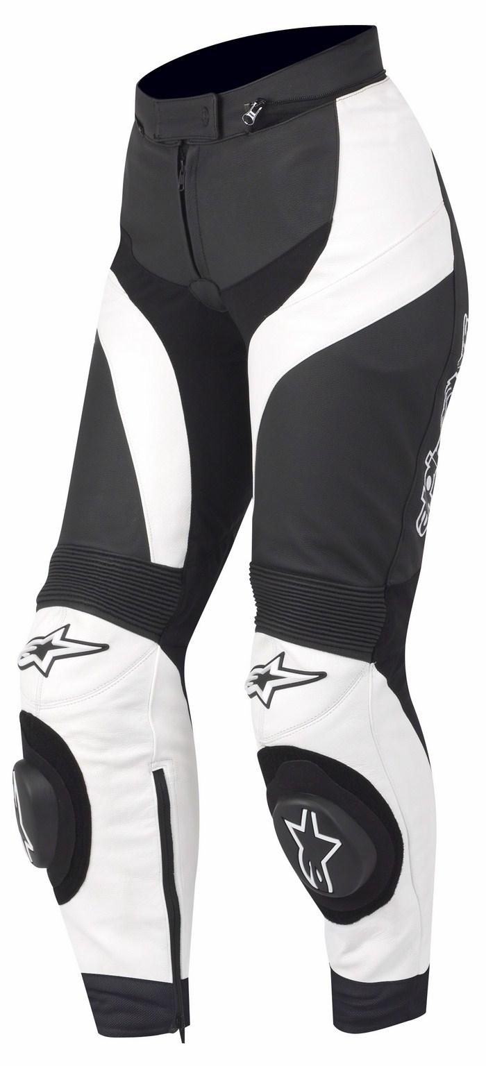 Pantaloni moto pelle donna Alpinestars Stella GP Plus Nero Bianc
