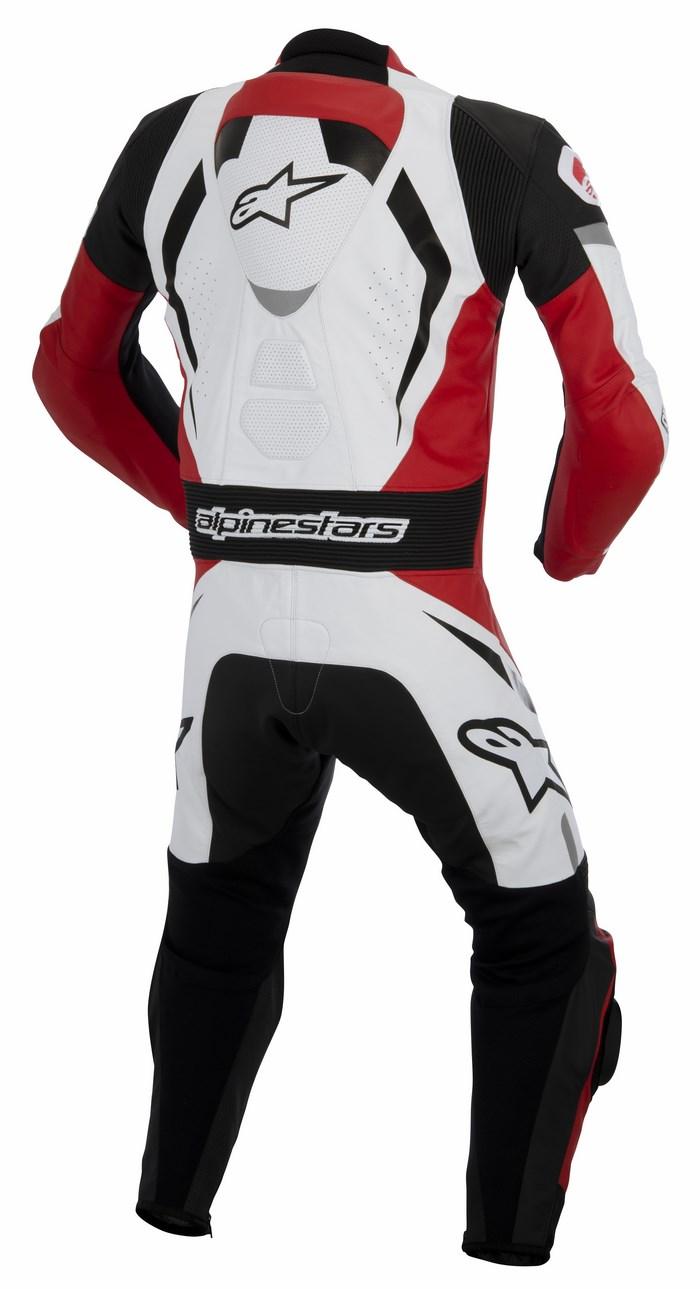 Tuta moto pelle intera Alpinestars Motegi nero bianco rosso