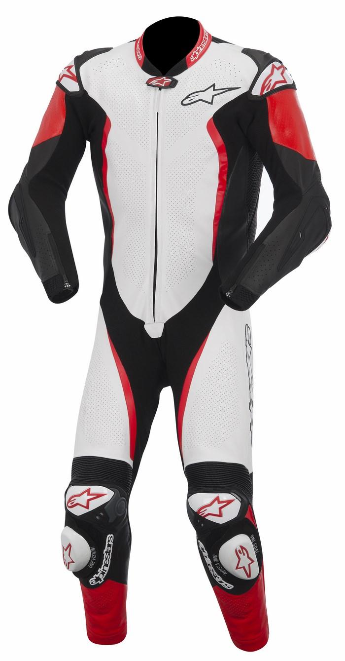 Tuta moto pelle intera Alpinestars GP Tech bianco nero rosso