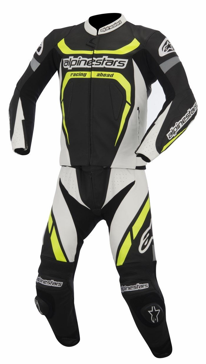 Alpinestars Motegi 2PC leather suit black white yellow