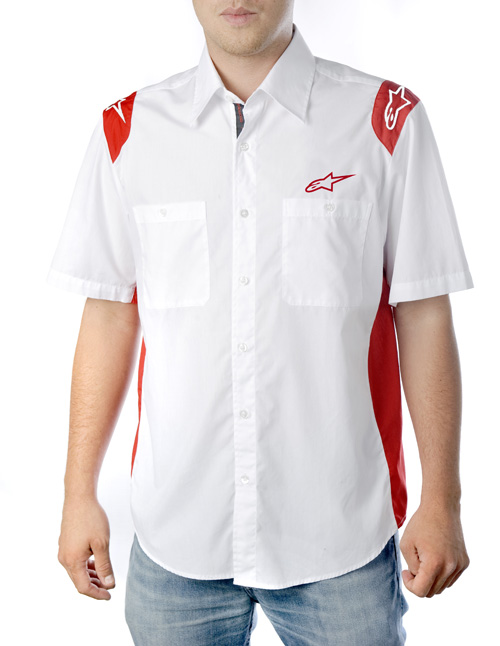 Camicia Alpinestars Team Wear SS bianco-rosso