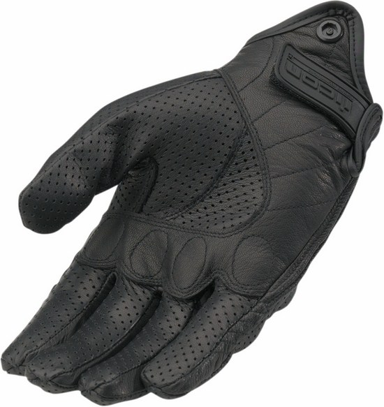 Summer Motorcycle Gloves Icon Pursuit Perforated Leather Black