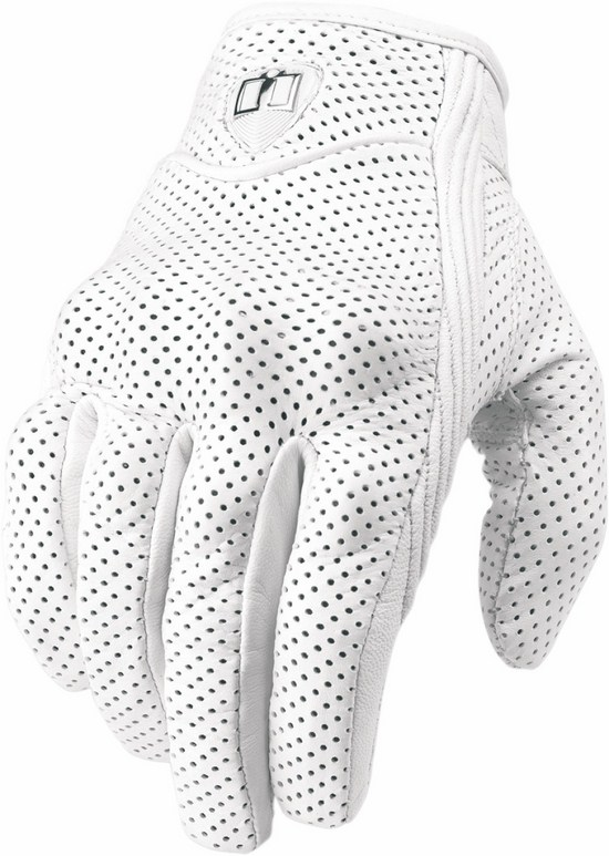 Summer Motorcycle Gloves Icon Pursuit Perforated Leather White