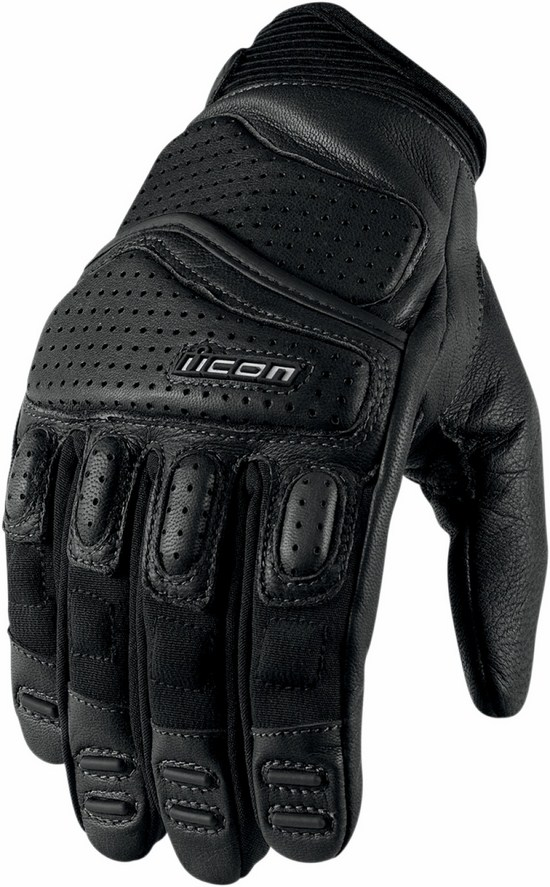 Summer Leather Motorcycle Gloves Icon Superduty 2 Black