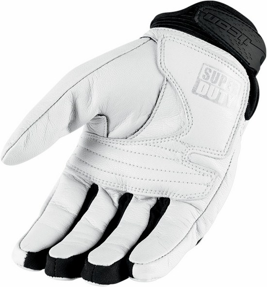 Summer Leather Motorcycle Gloves Icon Superduty 2 White