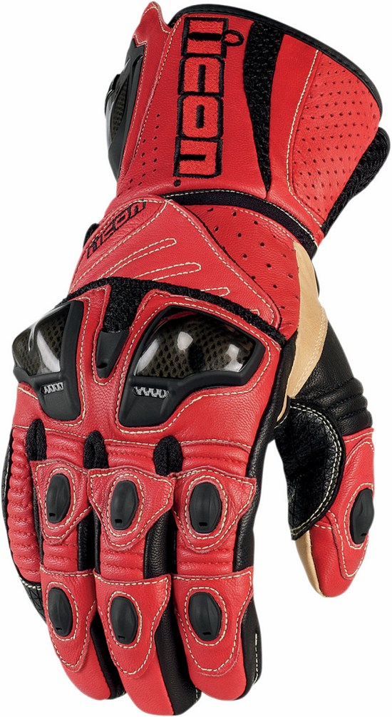 Summer Leather Motorcycle Gloves Icon Overlord Red