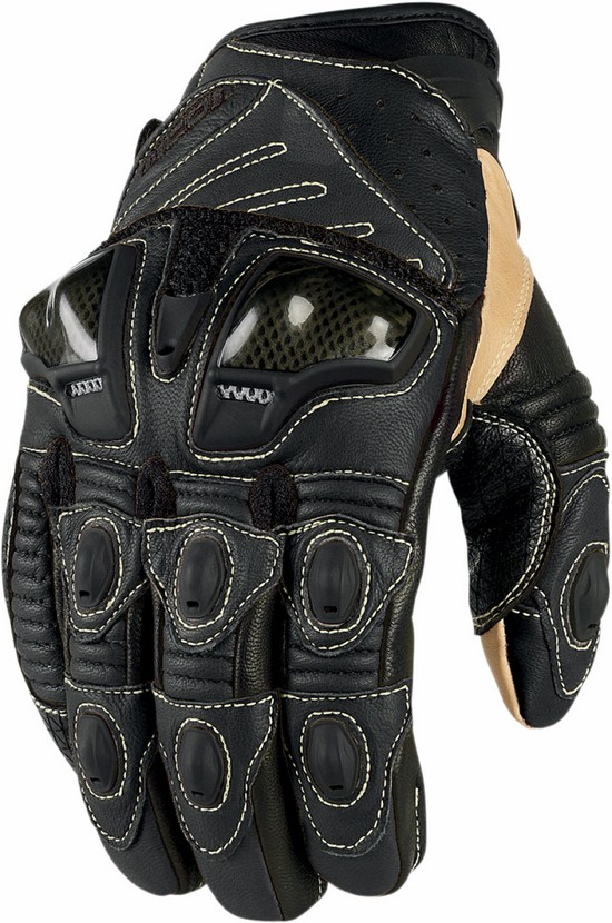 Summer Leather Motorcycle Gloves Icon Overlord Short Black