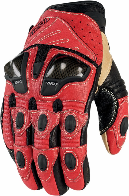 Summer Leather Motorcycle Gloves Icon Overlord Short Red