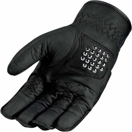 Icon leather motorcycle gloves summer 1000 Rimfire Black