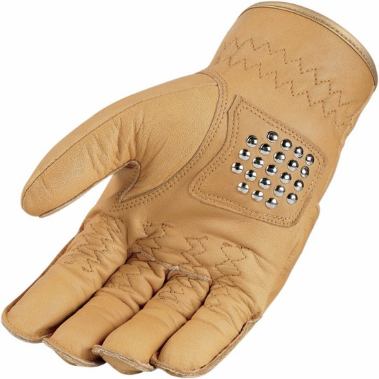 Icon leather motorcycle gloves summer 1000 Rimfire Beige