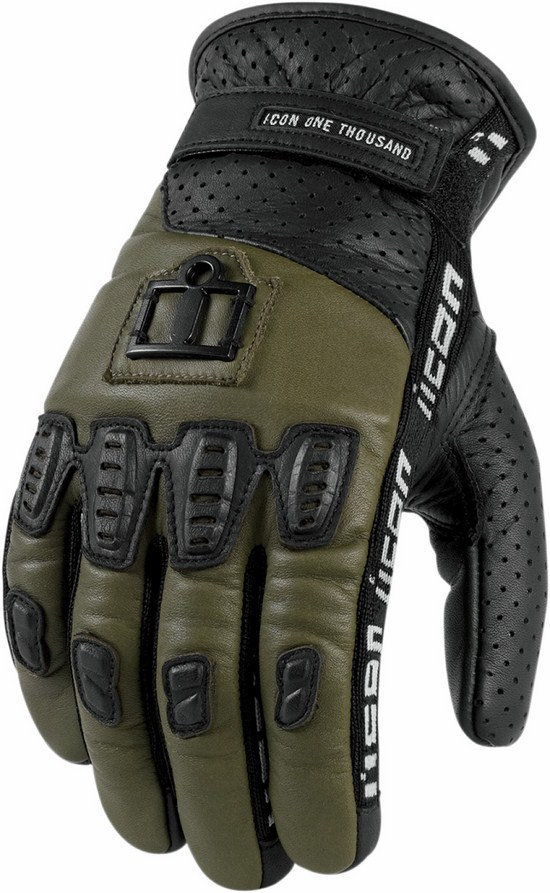 Icon leather motorcycle gloves summer 1000 Turnbuckle Military G