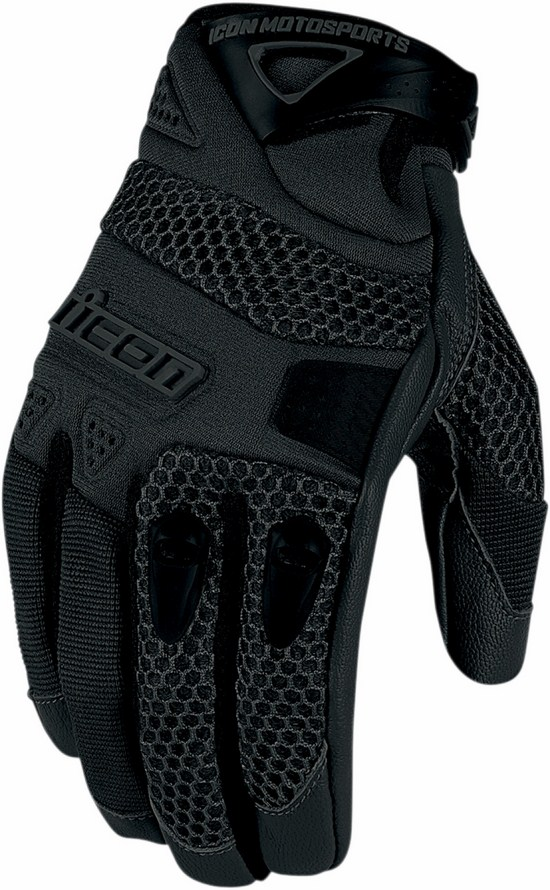 Summer Motorcycle Gloves Icon Anthem Black