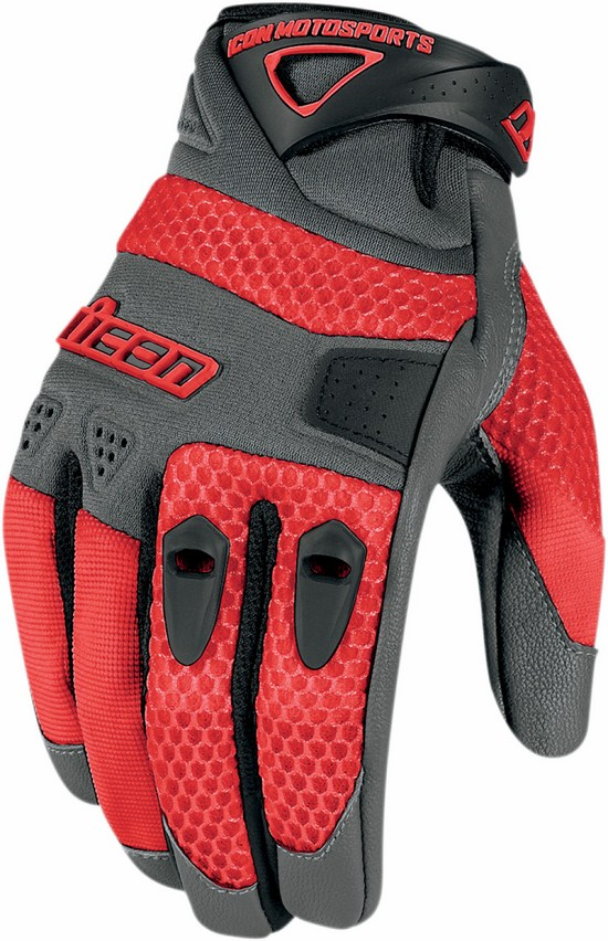 Summer Motorcycle Gloves Icon Anthem Red