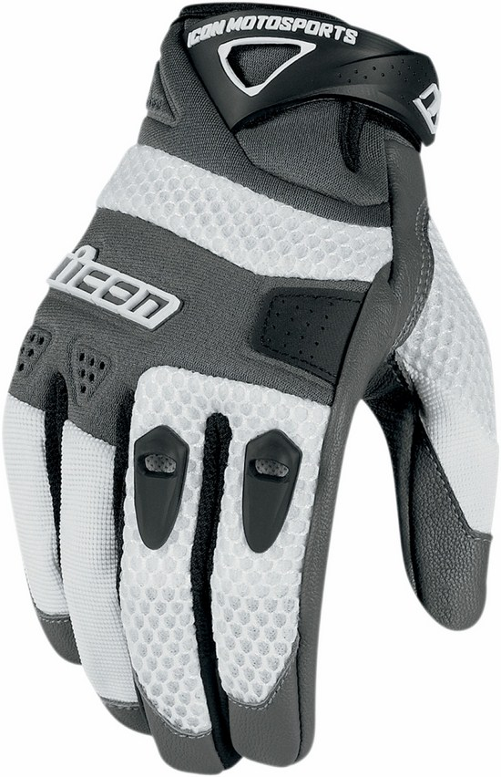Summer Motorcycle Gloves Icon Anthem White