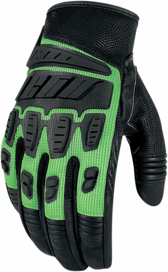Summer Motorcycle Gloves Icon Hooligan Green