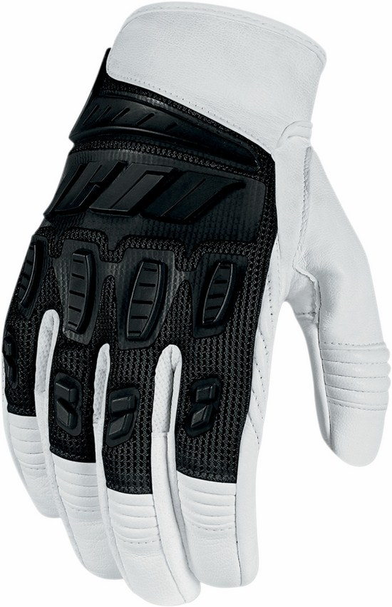 Summer Motorcycle Gloves Icon Hooligan White Black