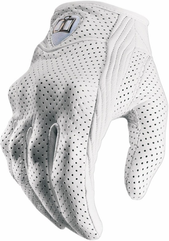 Women leather Gloves Icon Pursuit Perforated White