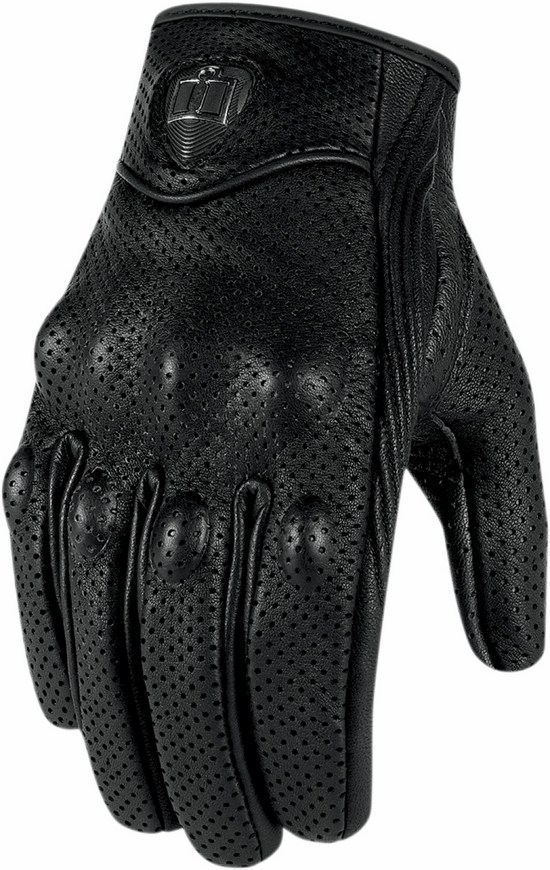 Women leather Gloves Icon Pursuit Perforated Black Touchsc