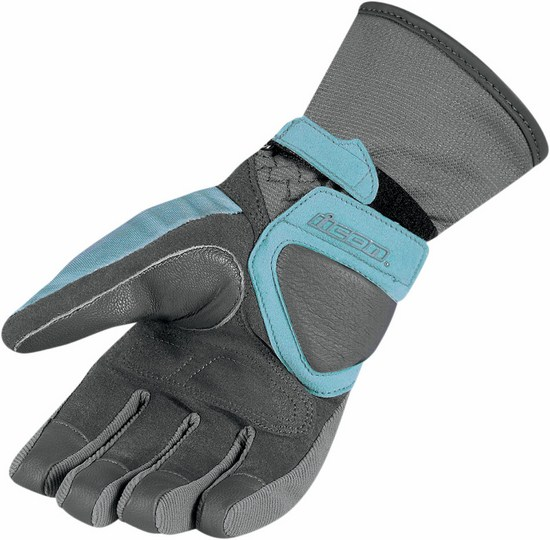 Women Waterproof Motorcycle Gloves Icon Blue Grey Citadel