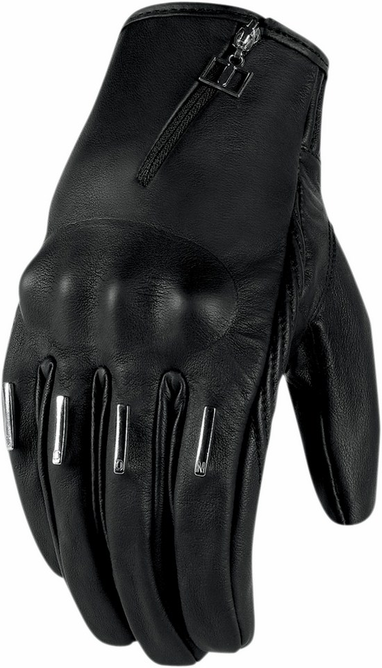 Women leather motorcycle gloves Icon Hella 1000 Black Kang