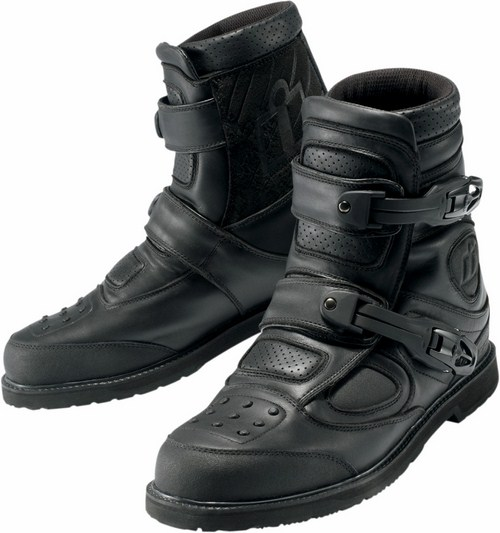 Icon Patrol Waterproof Motorcycle Boots Leather Black