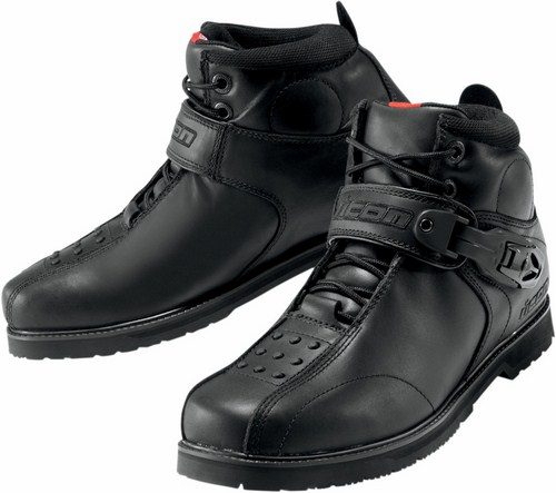 Icon Superduty 4 motorcycle leather shoes Black