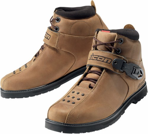 Icon Superduty 4 motorcycle leather shoes Brown