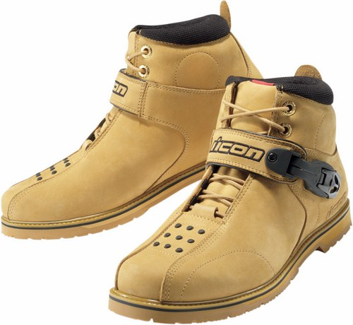 Icon Superduty 4 motorcycle leather shoes Ochre