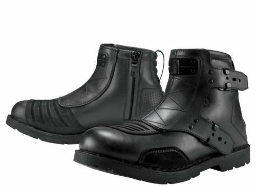 Icon motorcycle leather shoes 1000 El Bajo Black