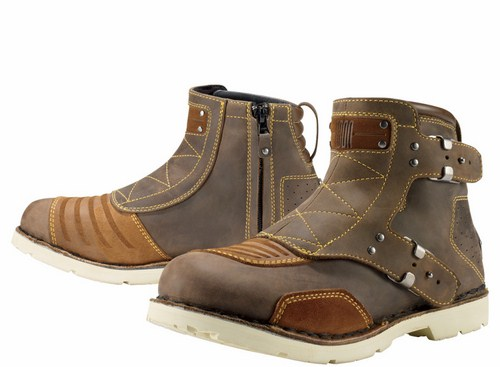 Icon motorcycle leather shoes 1000 El Bajo Brown