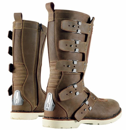 Motorcycle boots leather Icon 1000 Elsinore Brown