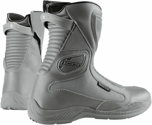 Icon Reign Waterproof Motorcycle Boots Gray