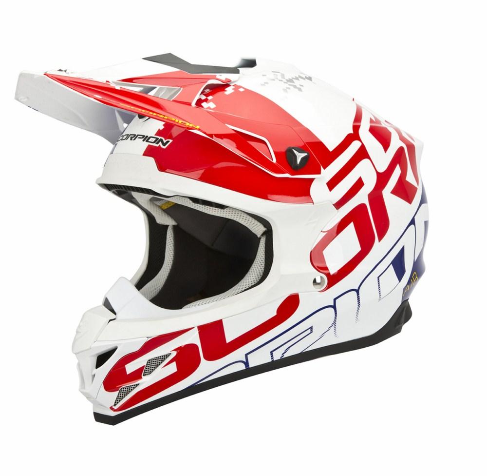 Scorpion VX 15 Evo Air Grid cross helmet white red blue