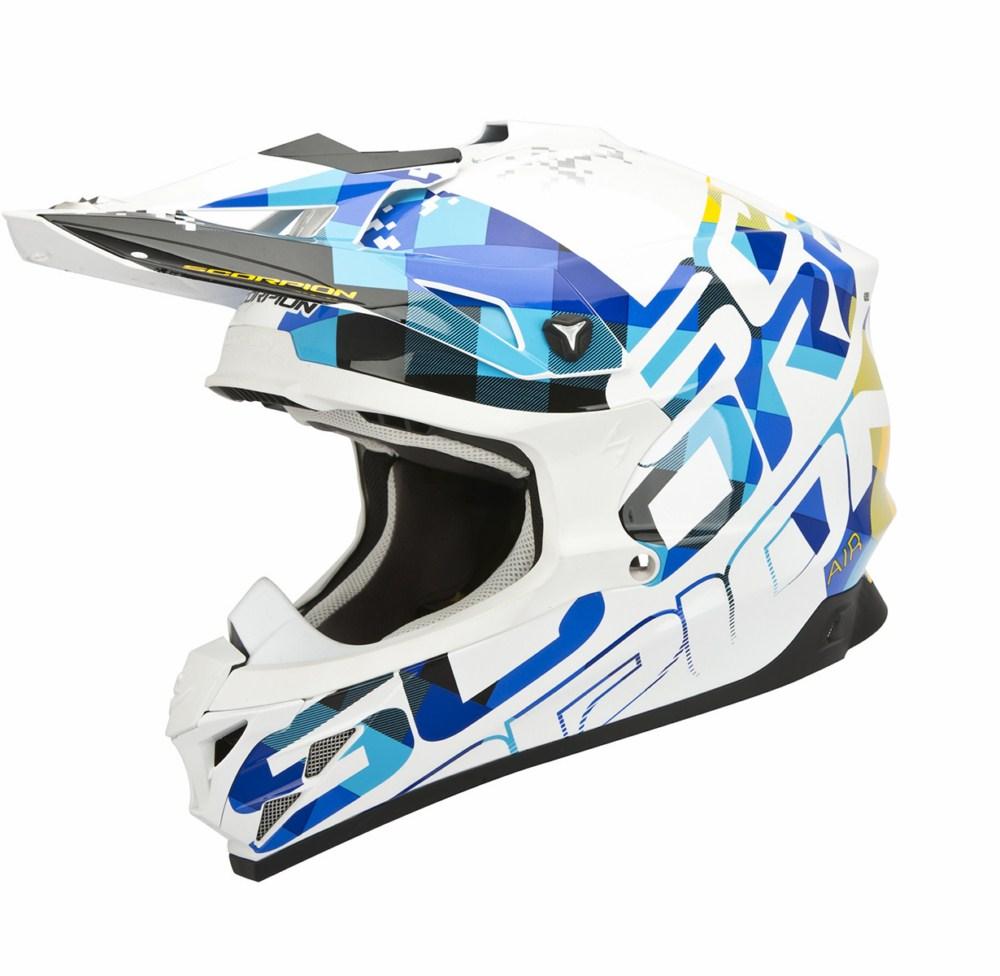 Scorpion VX 15 Evo Air Grid cross helmet white blue