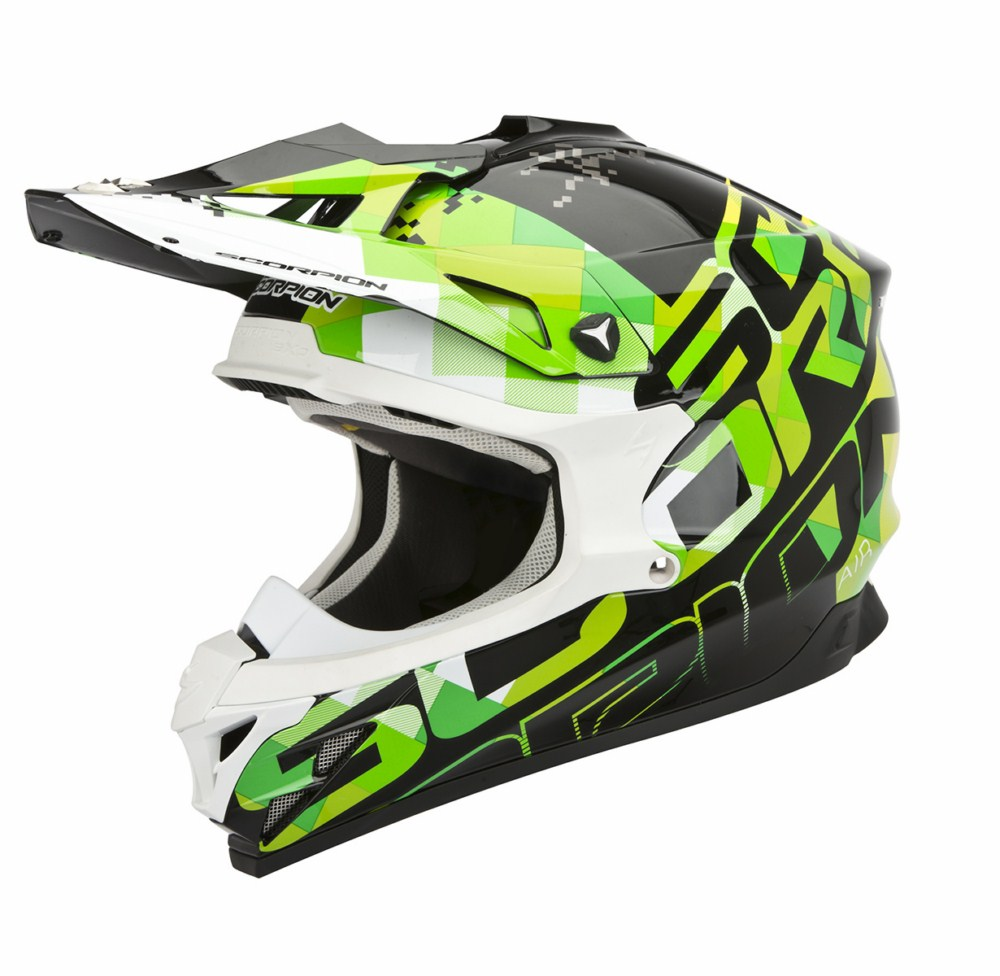 Scorpion VX 15 Evo Air Grid cross helmet black green