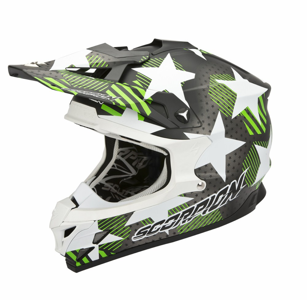 Scorpion VX 15 Evo Air Stadium cross helmet black green