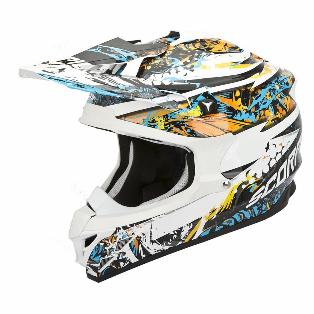 Scorpion VX 15 Evo Air Horror cross helmet white blie orange