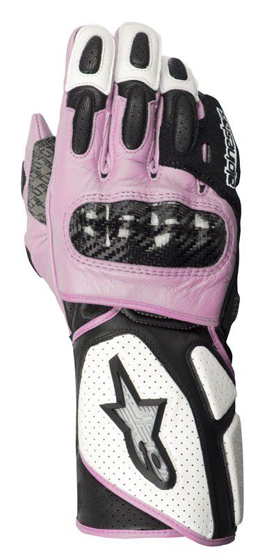 Guanti moto donna Alpinestars Stella SP-2 pelle bianco-nero-rosa