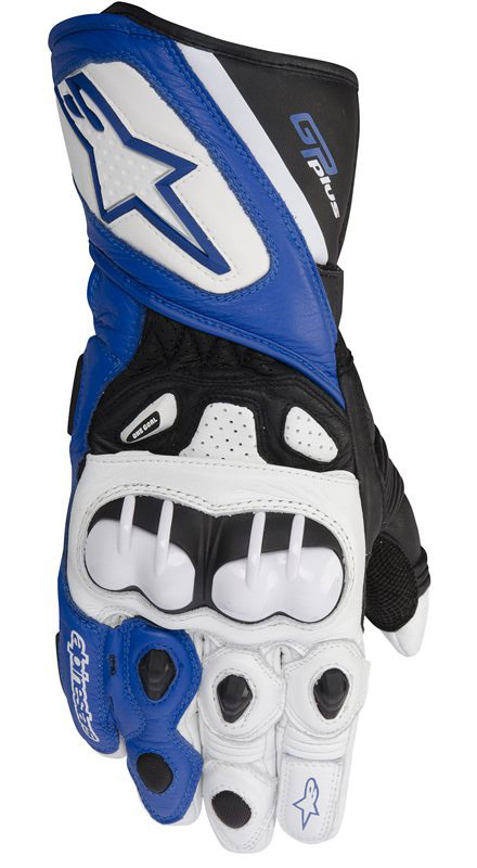 Alpinestars GP Plus Leather Motorcycle Gloves White Blue Black