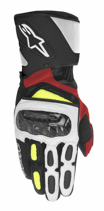 Alpinestars SP-2 leather gloves Black White Yellow Red