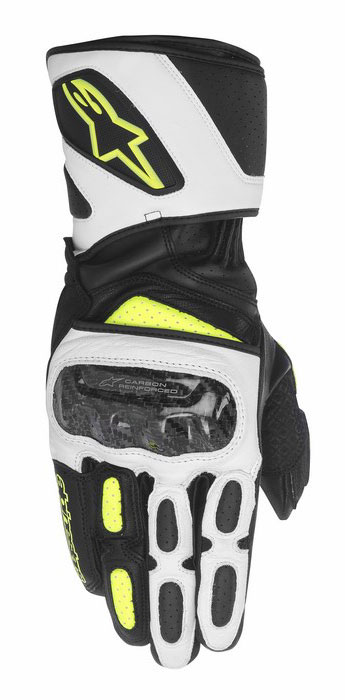 Alpinestars SP-2 leather gloves Black White Yellow