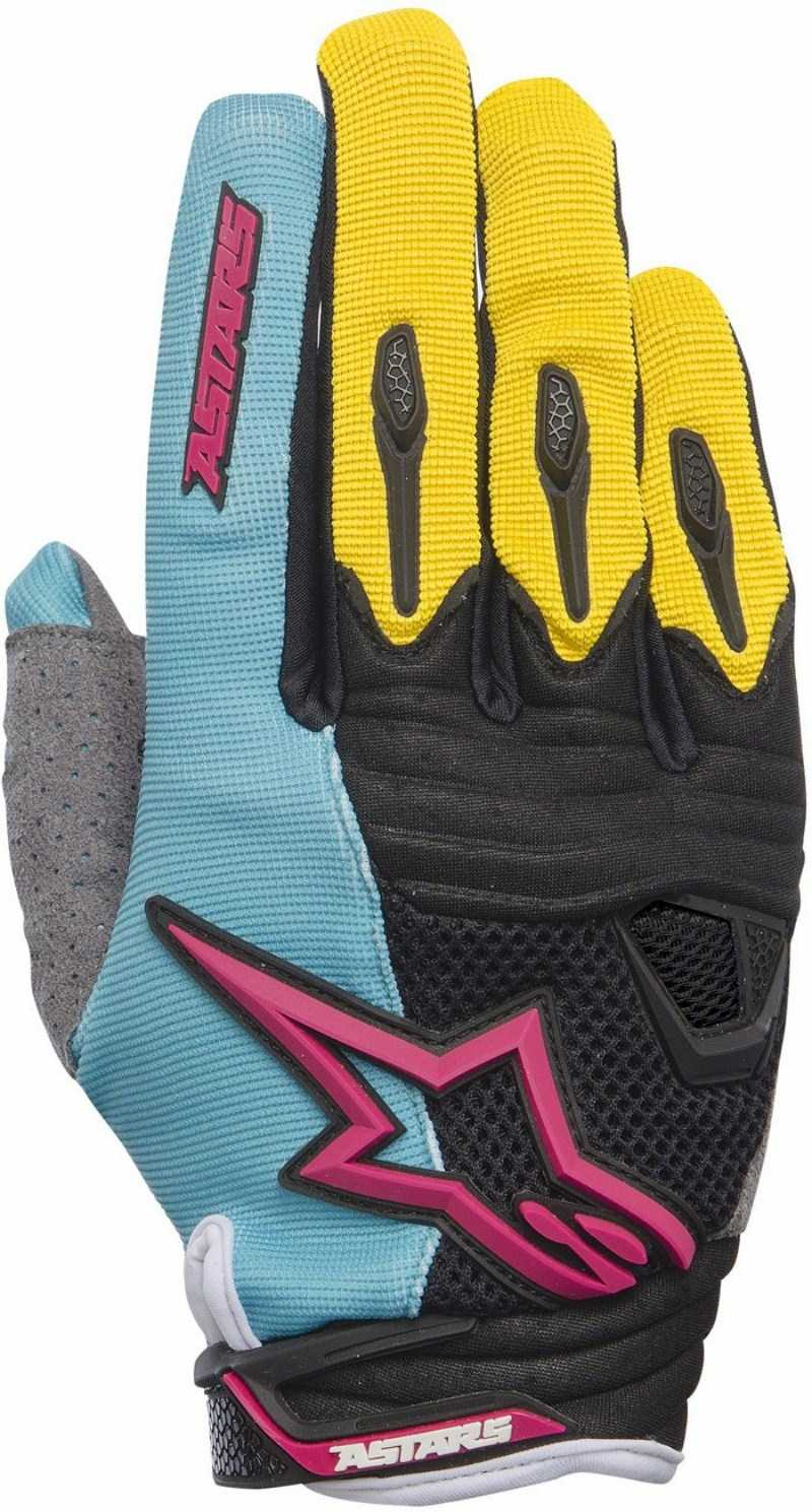 Alpinestars Techstar cross gloves Teal Yellow Magenta