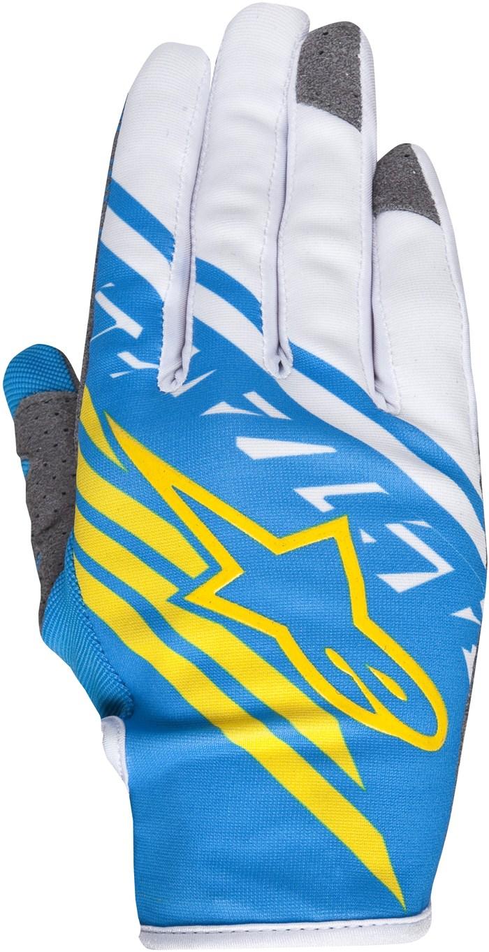 Guanti cross Alpinestars Racer Supermatic Blu Bianco Giallo