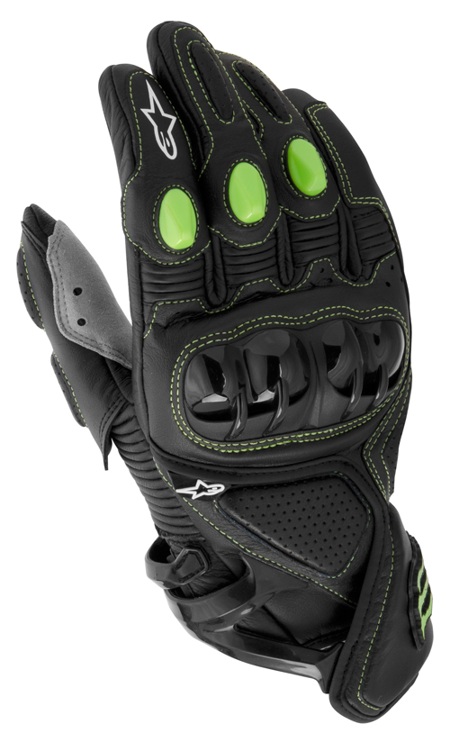 Alpinestars M1 Monster collection leather gloves black-green