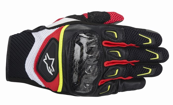 Alpinestars SMX-2 Air Carbon gloves black white yellow red