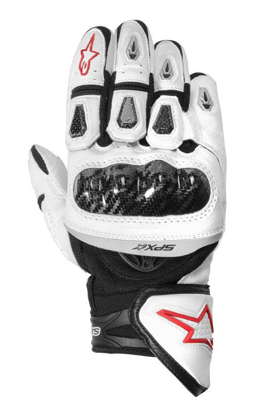 Alpinestars SP-X leather gloves white-blakc-red