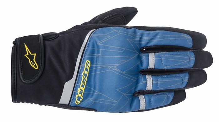 Alpinestars Haku Soft Shell Moroccan Blue Blazin yellow gloves